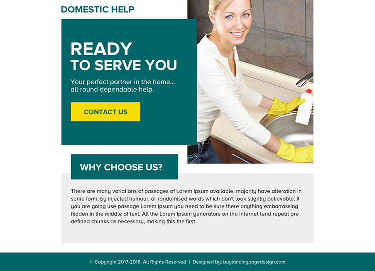 domestic help service minimal ppv landing page design