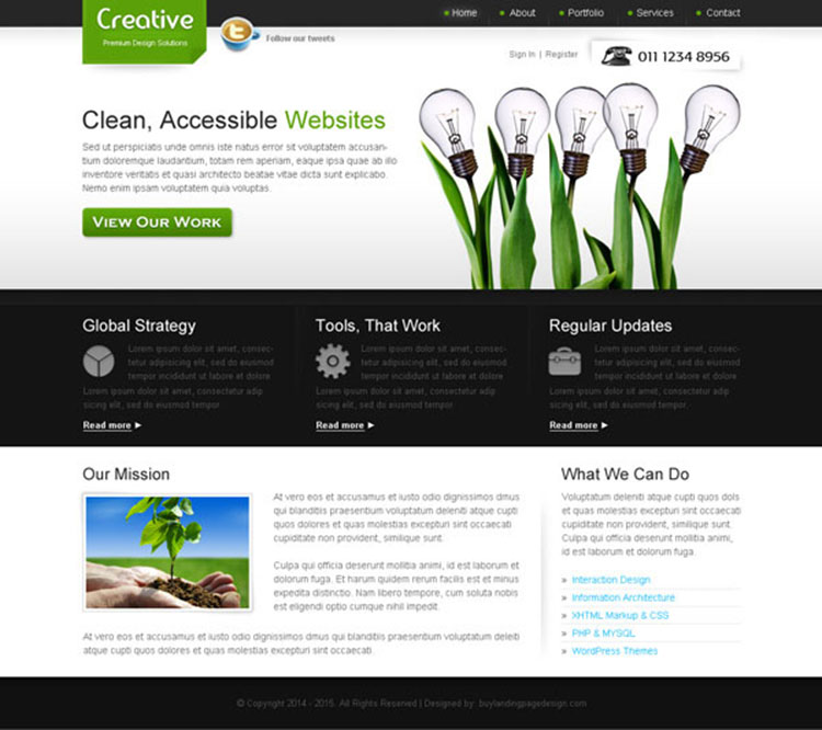 creative and converting web design company website template design psd
