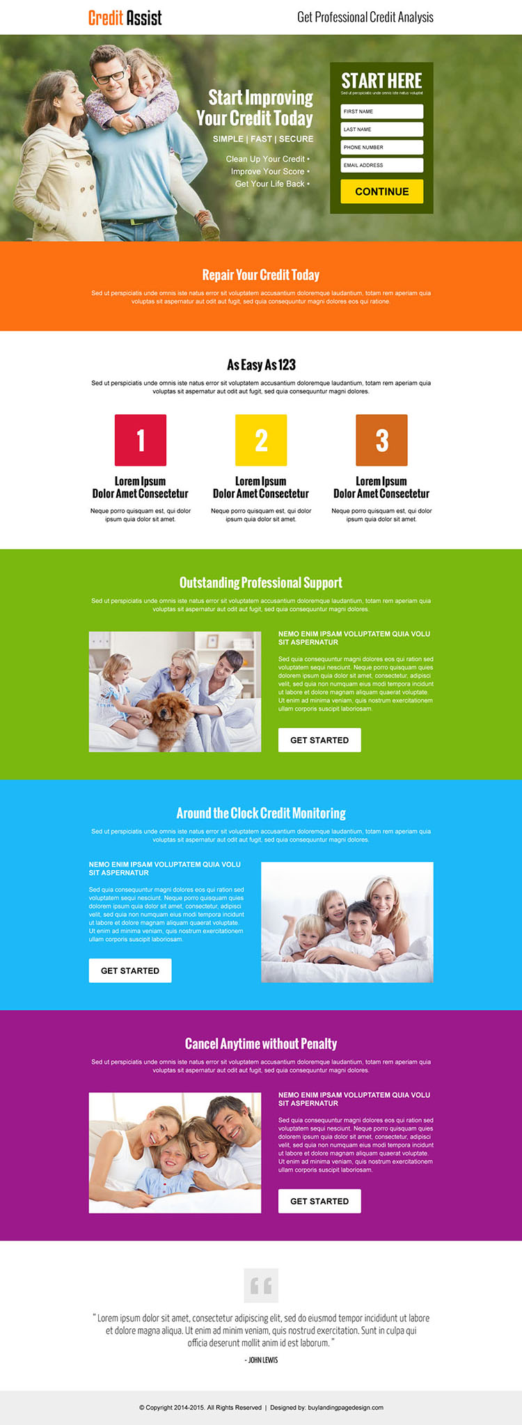 credit assist service small lead capture landing page design
