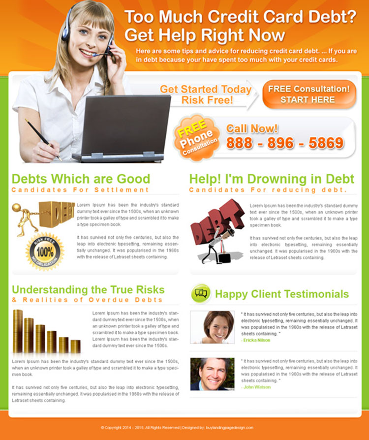 credit card debt free consultation landing page design for sale