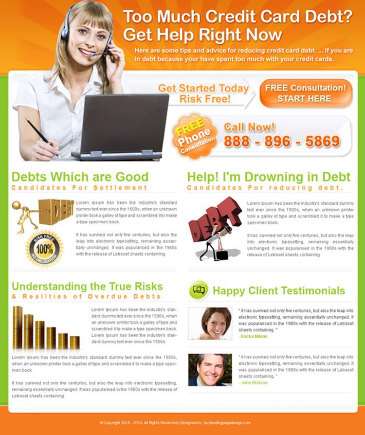 credit card debt free consultation landing page design for sale
