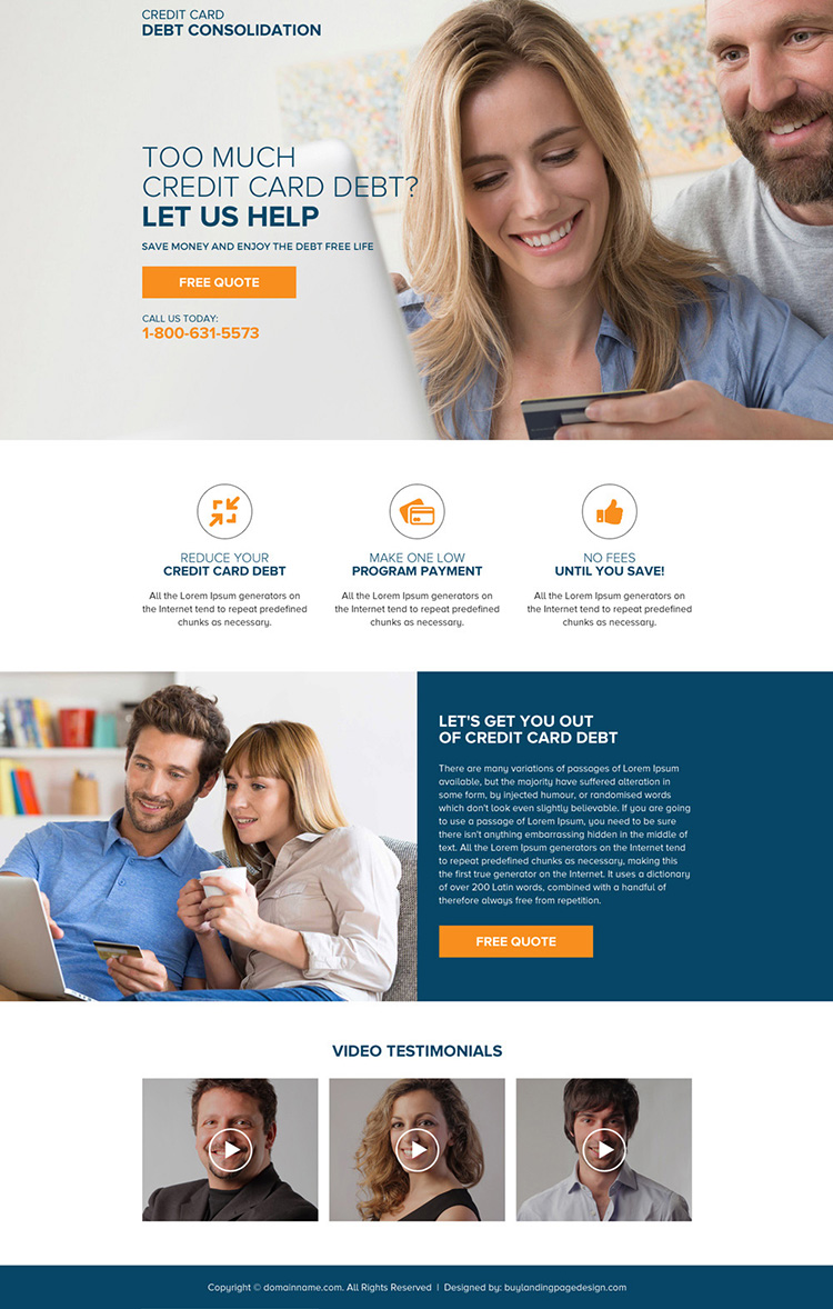credit card debt consolidation mini landing page design