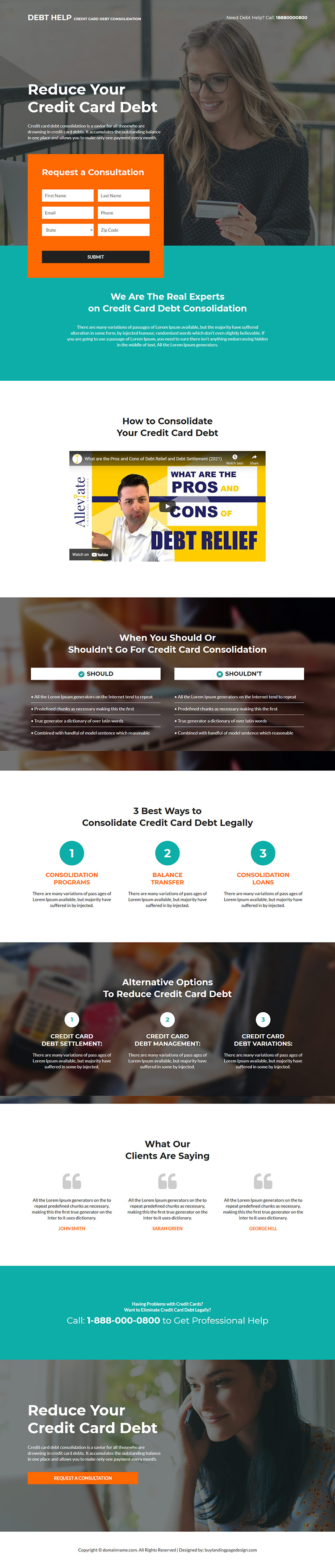 credit card debt consolidation responsive landing page