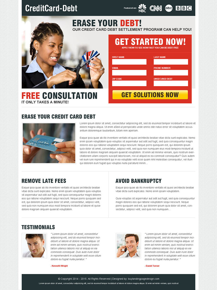 erase your debt 2 column attractive landing page design to maximize and boost your conversion