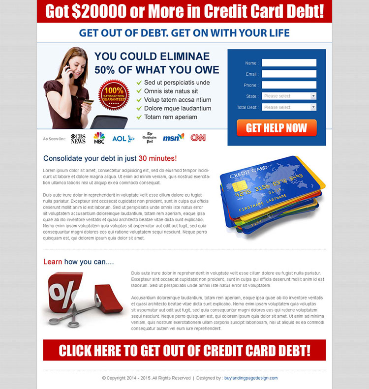 credit card debt landing page design templates