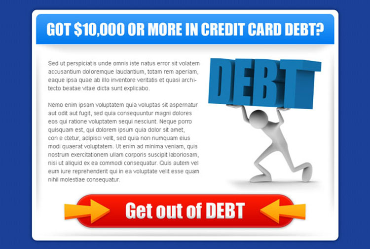 get out of debt clean and attractive credit card debt ppv landing page design