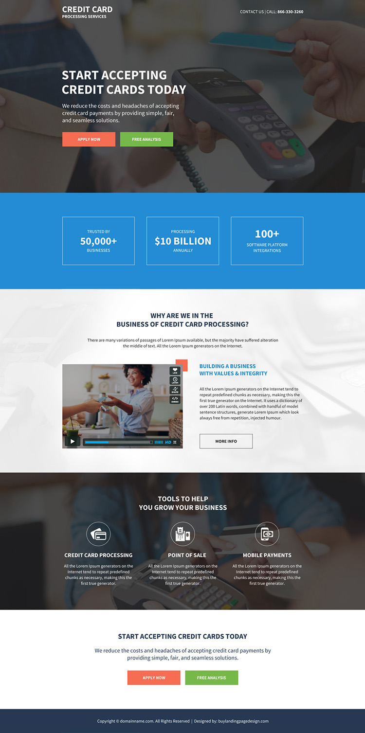 credit card processing services responsive landing page