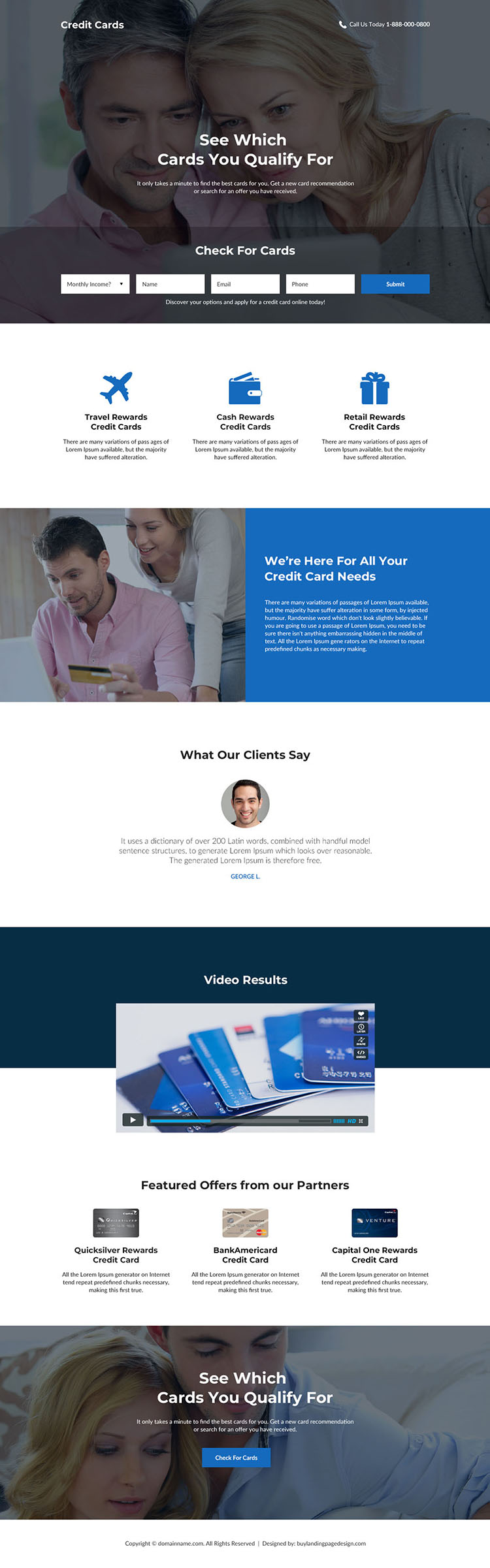 credit card service lead generating landing page