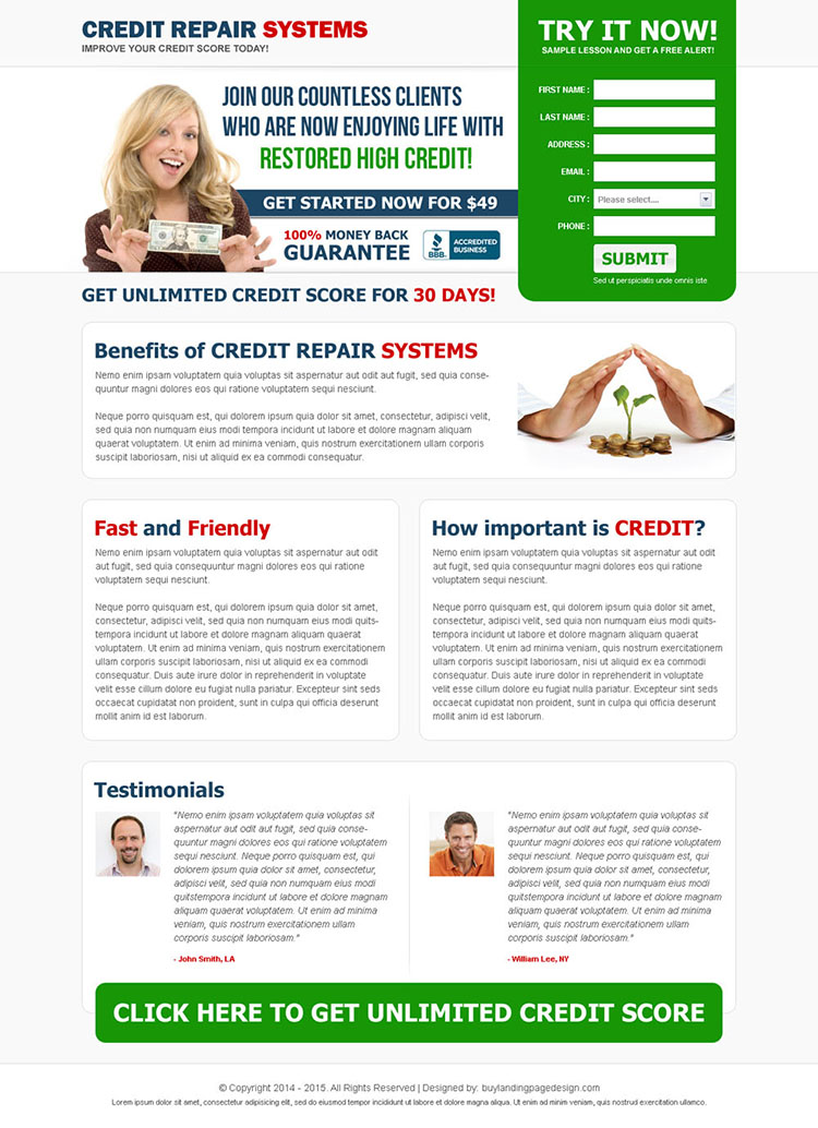 credit repair system clean and converting landing page design