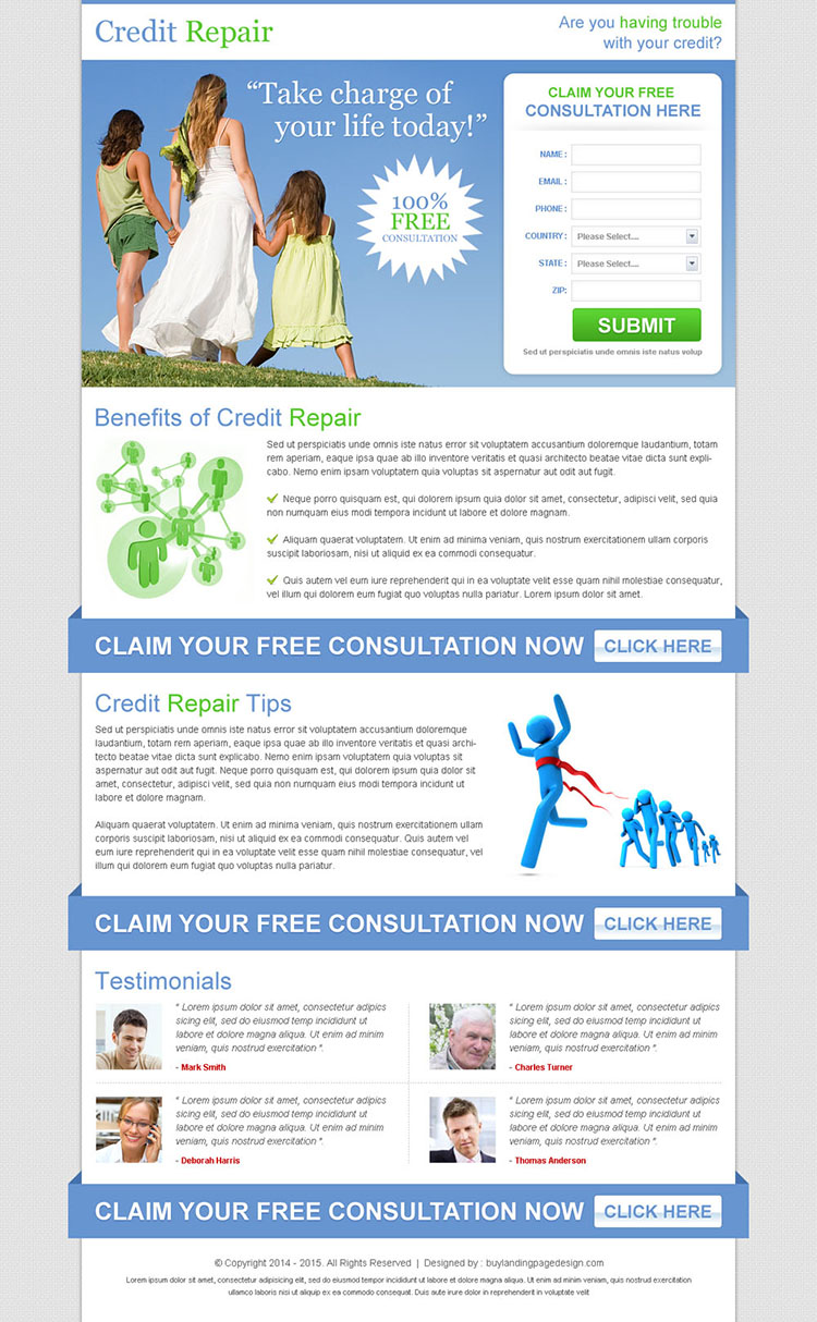 free credit repair consultation clean lead capture landing page