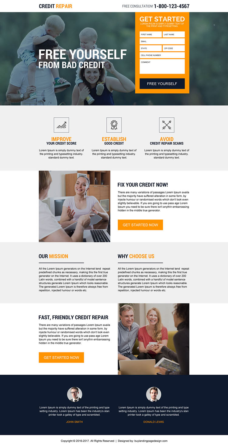 credit repair experts free consultation landing page design