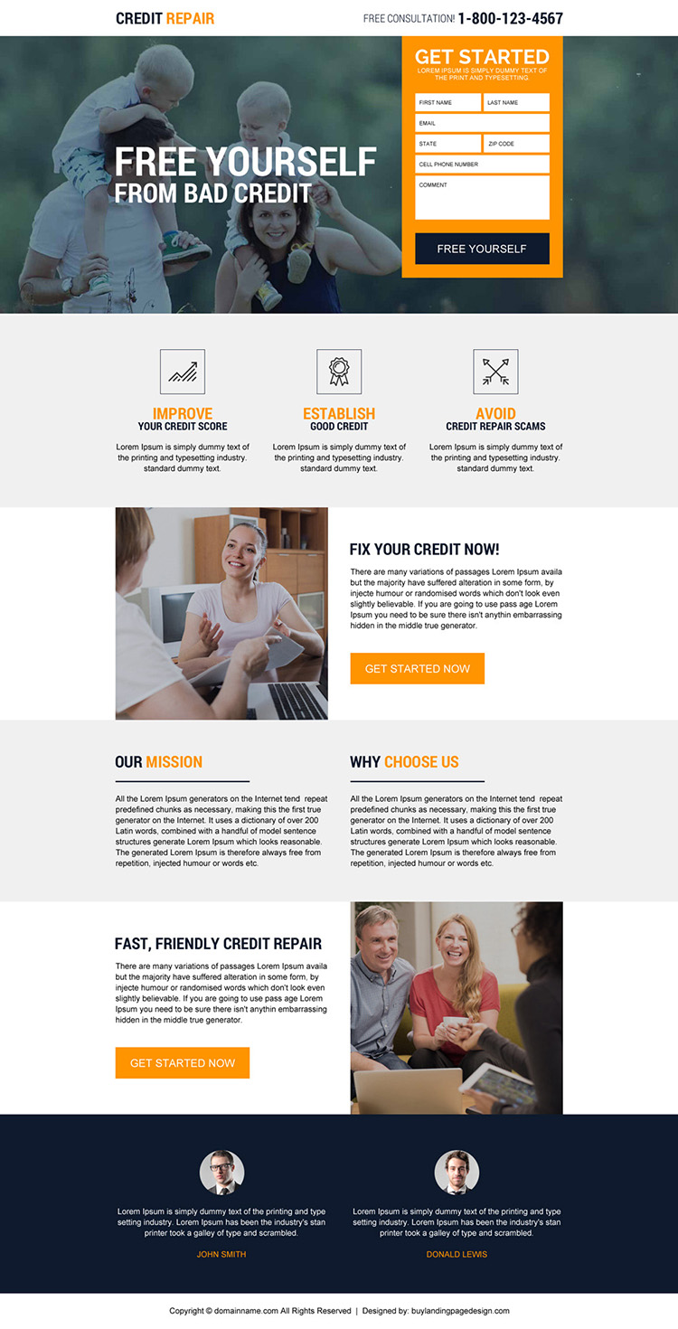 responsive credit repair free consultation lead generating landing page