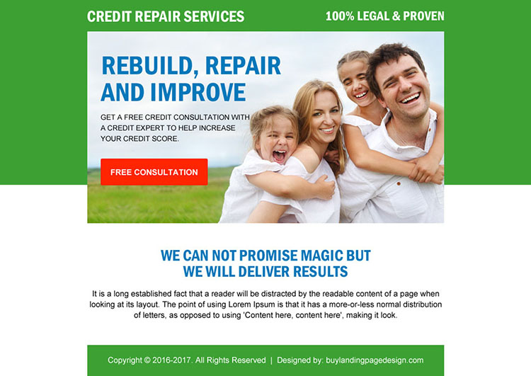 credit repair free consultation ppv landing page design