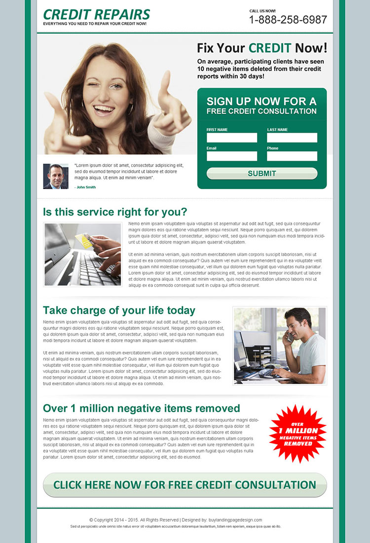 fix your credit now attractive and effective lead capture squeeze page design
