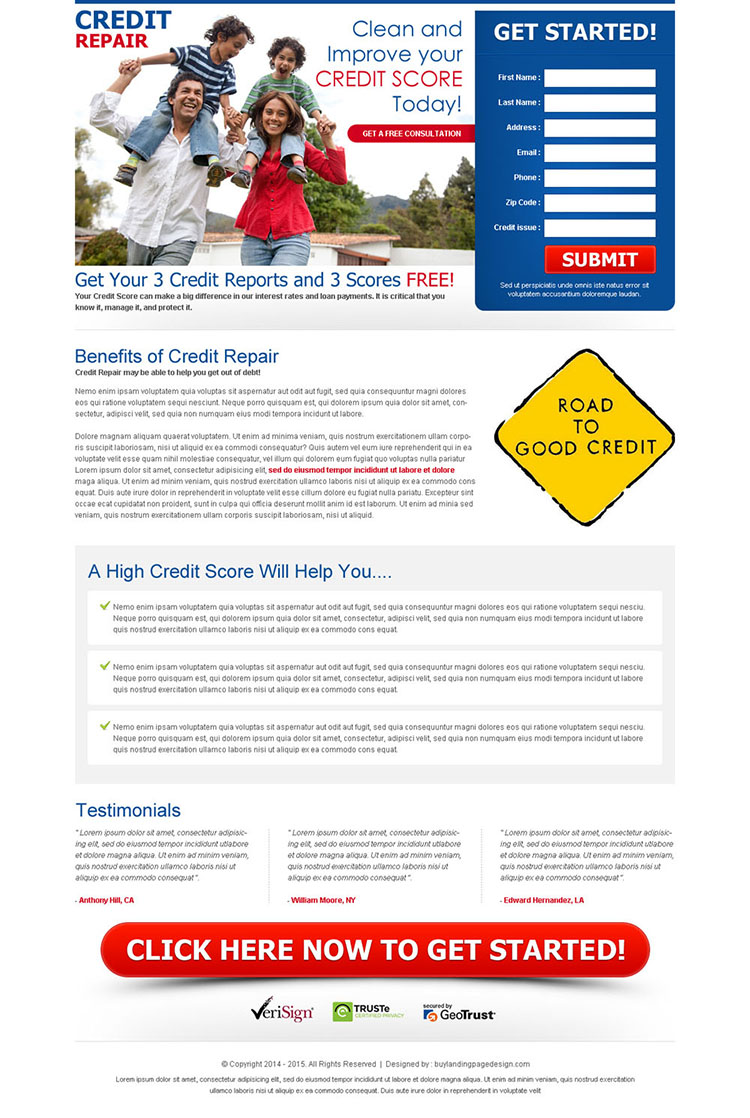 Credit repair landing page design template to capture leads
