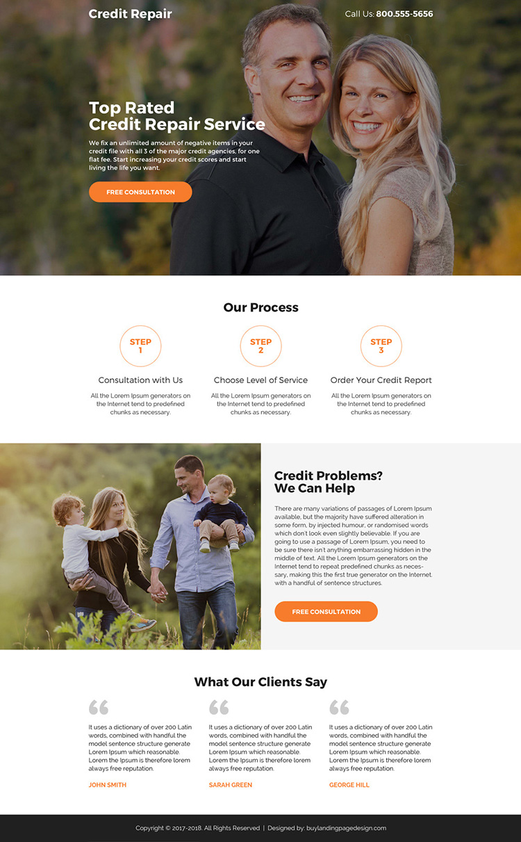 credit repair free consultation lead capturing mini landing page design
