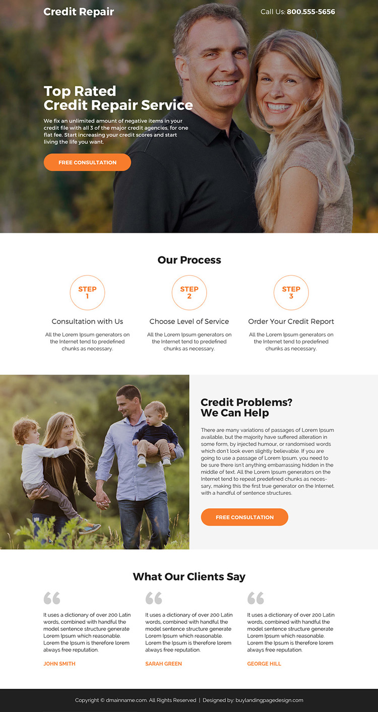 credit repair service call to action responsive landing page