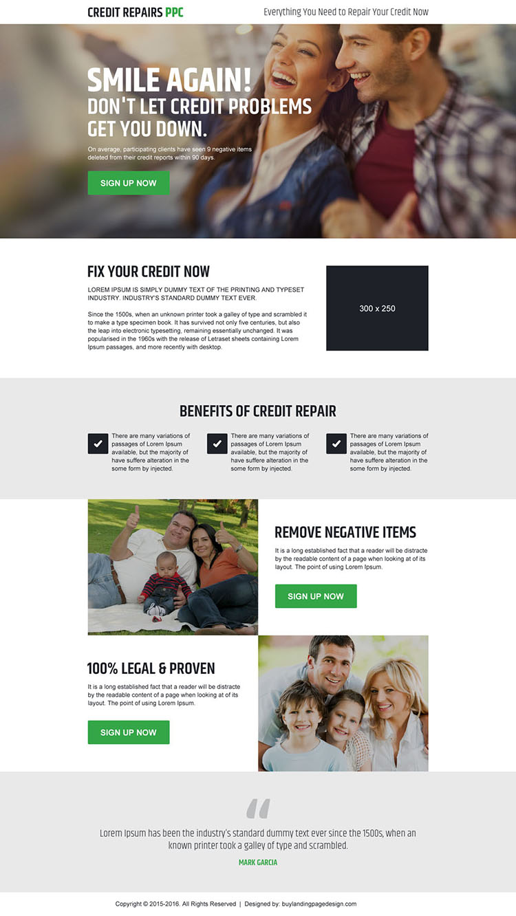credit repair pay per click sign up lead generating landing page