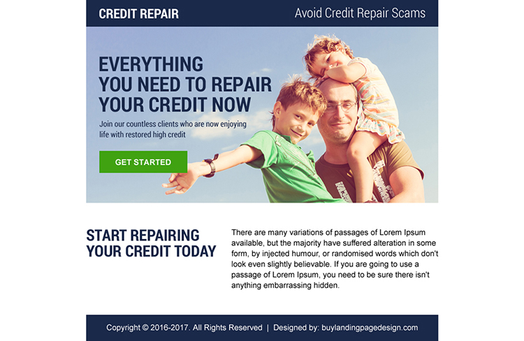 credit repair ppv landing page design
