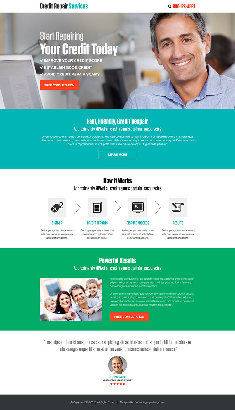 credit repair free consultation call to action landing page design