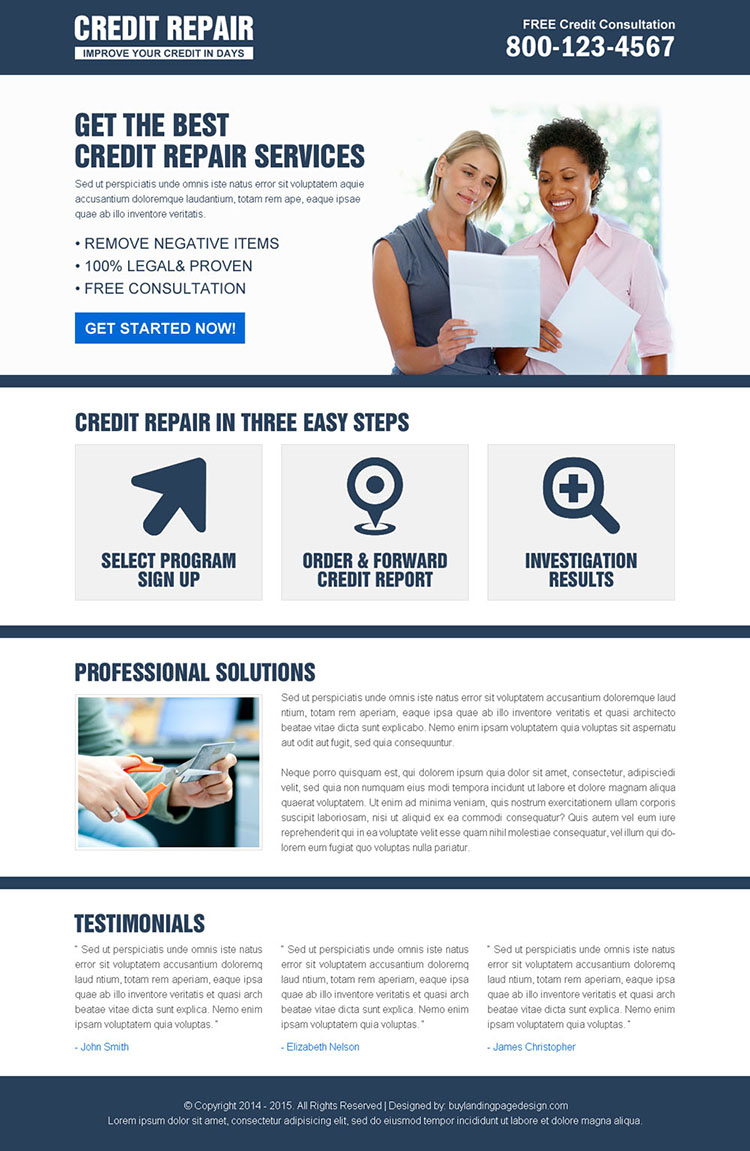 most appealing and converting credit repair landing page design to boost your business