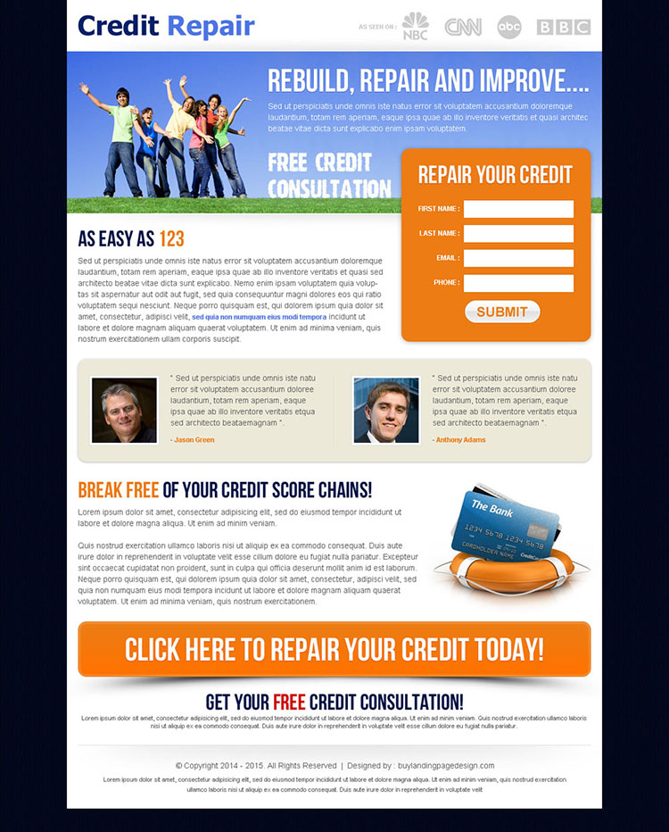 credit repair small lead capture landing page
