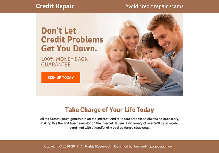 credit repair problems ppv landing page design