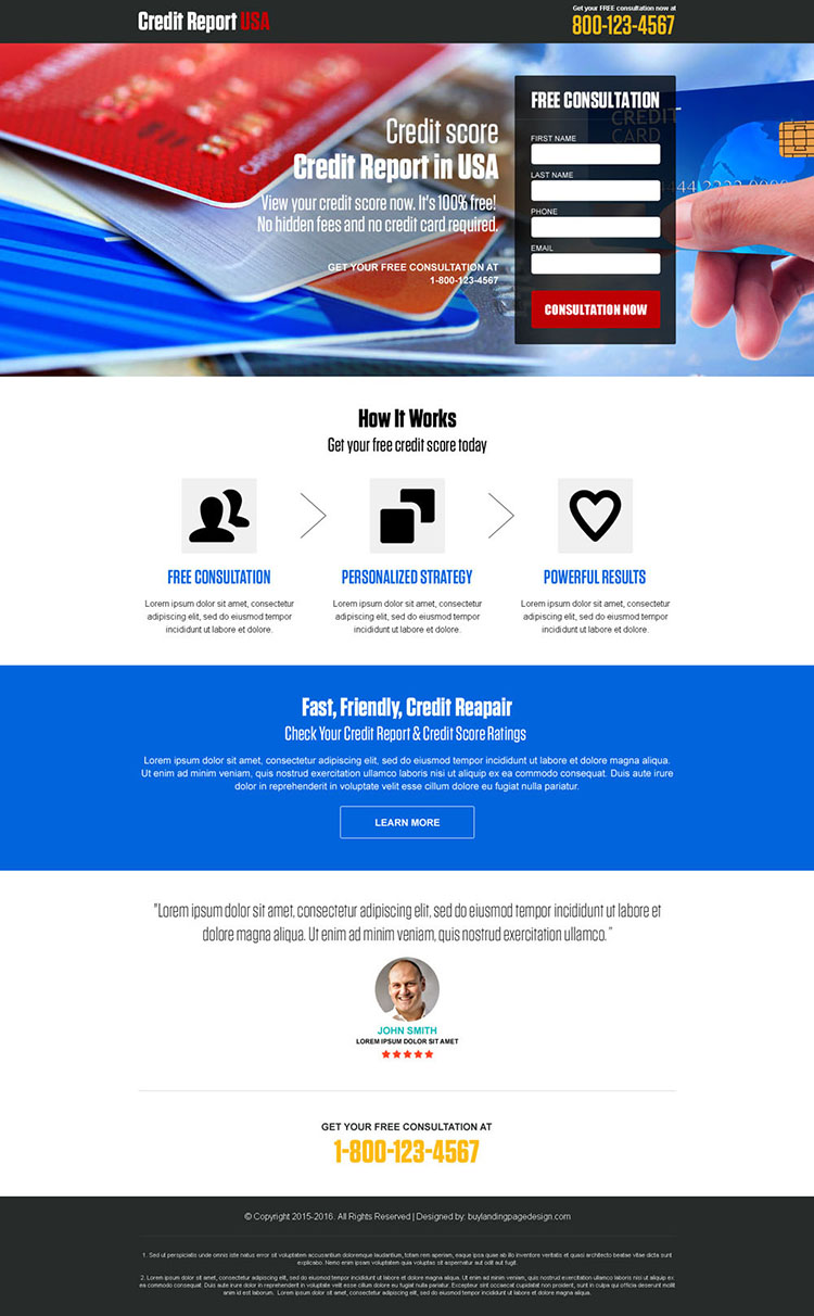 responsive credit report free consultation landing page design