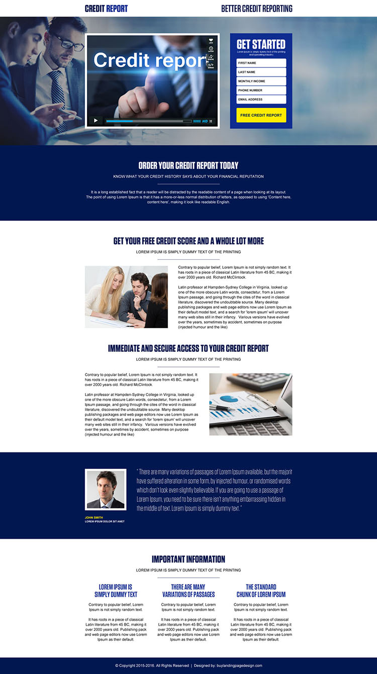 credit report lead generation video landing page design template