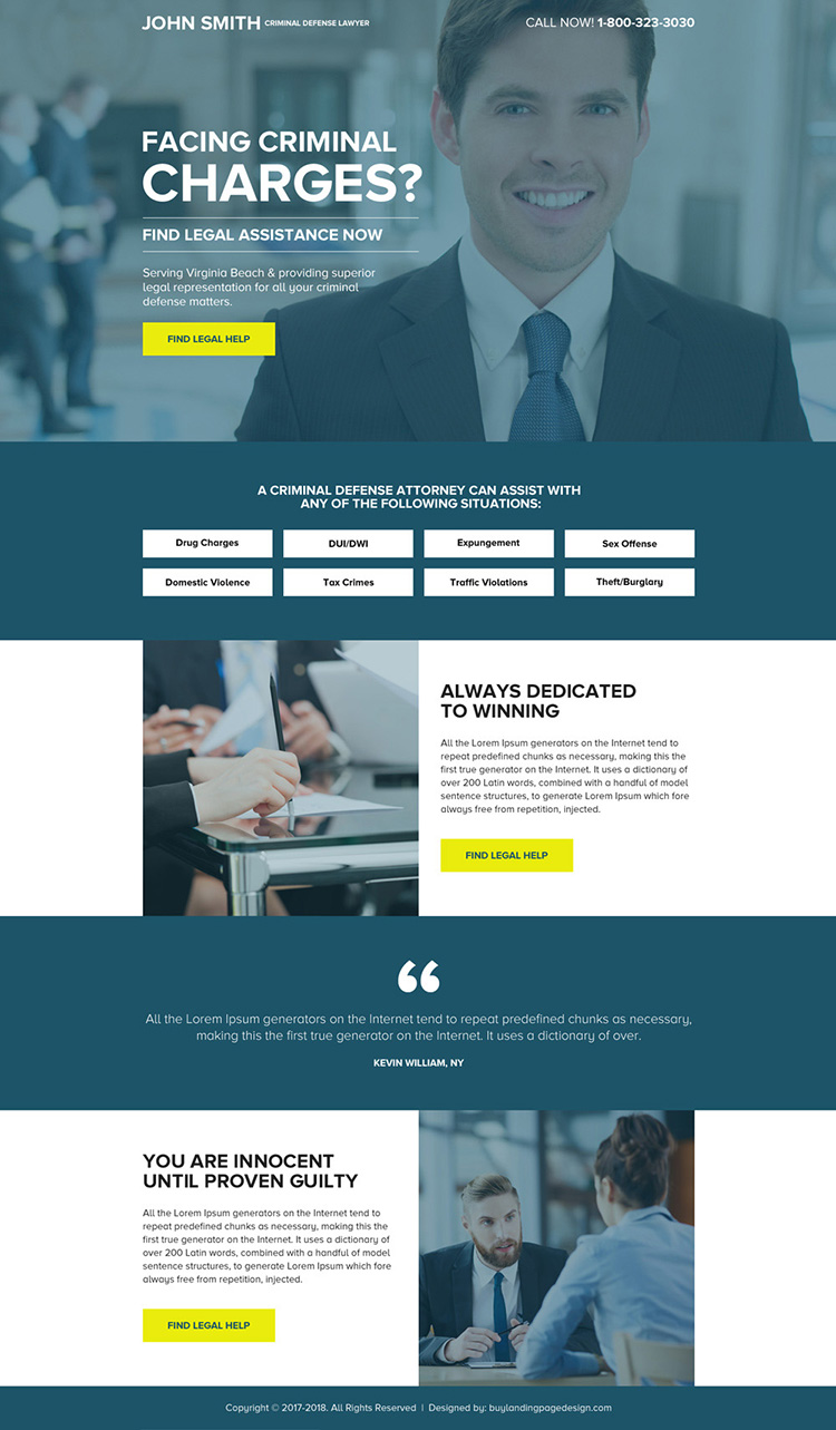 criminal defence lawyer mini landing page design