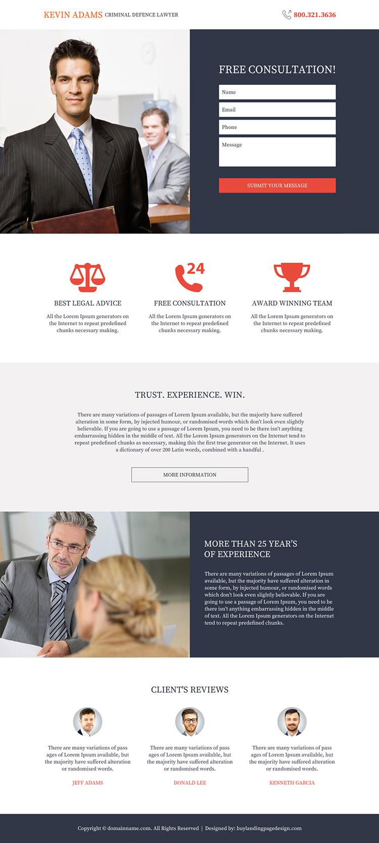criminal defence lawyer responsive landing page design