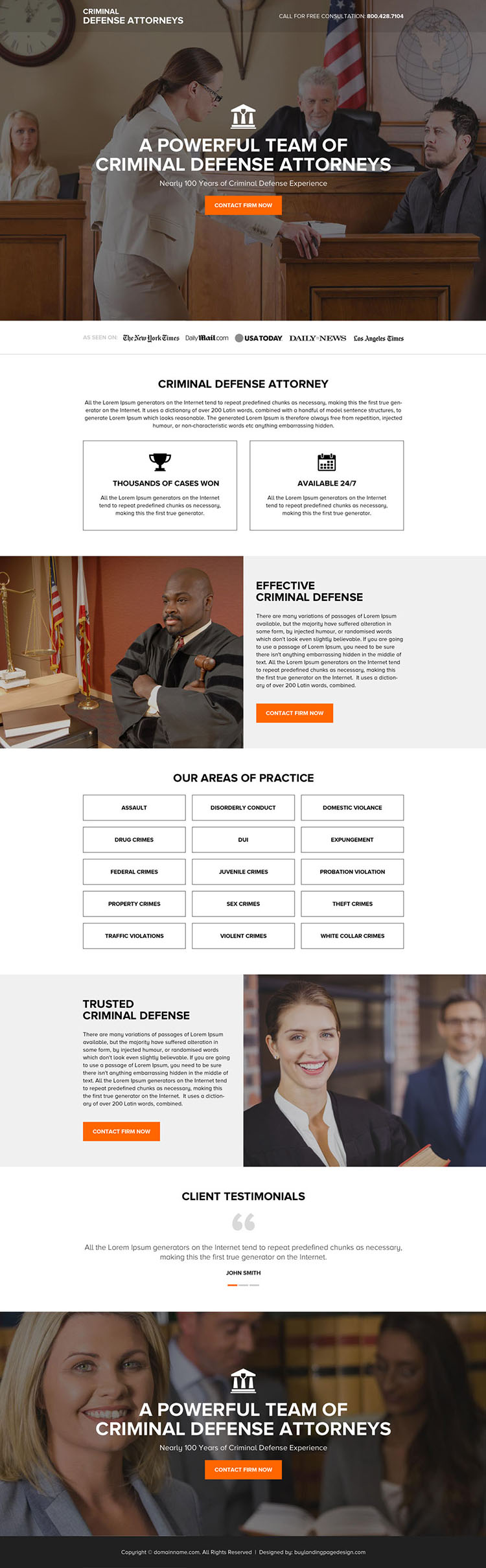 criminal defense attorney firm responsive landing page