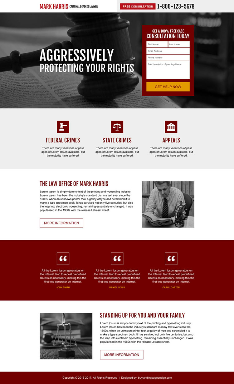 criminal defense lawyer responsive landing page design
