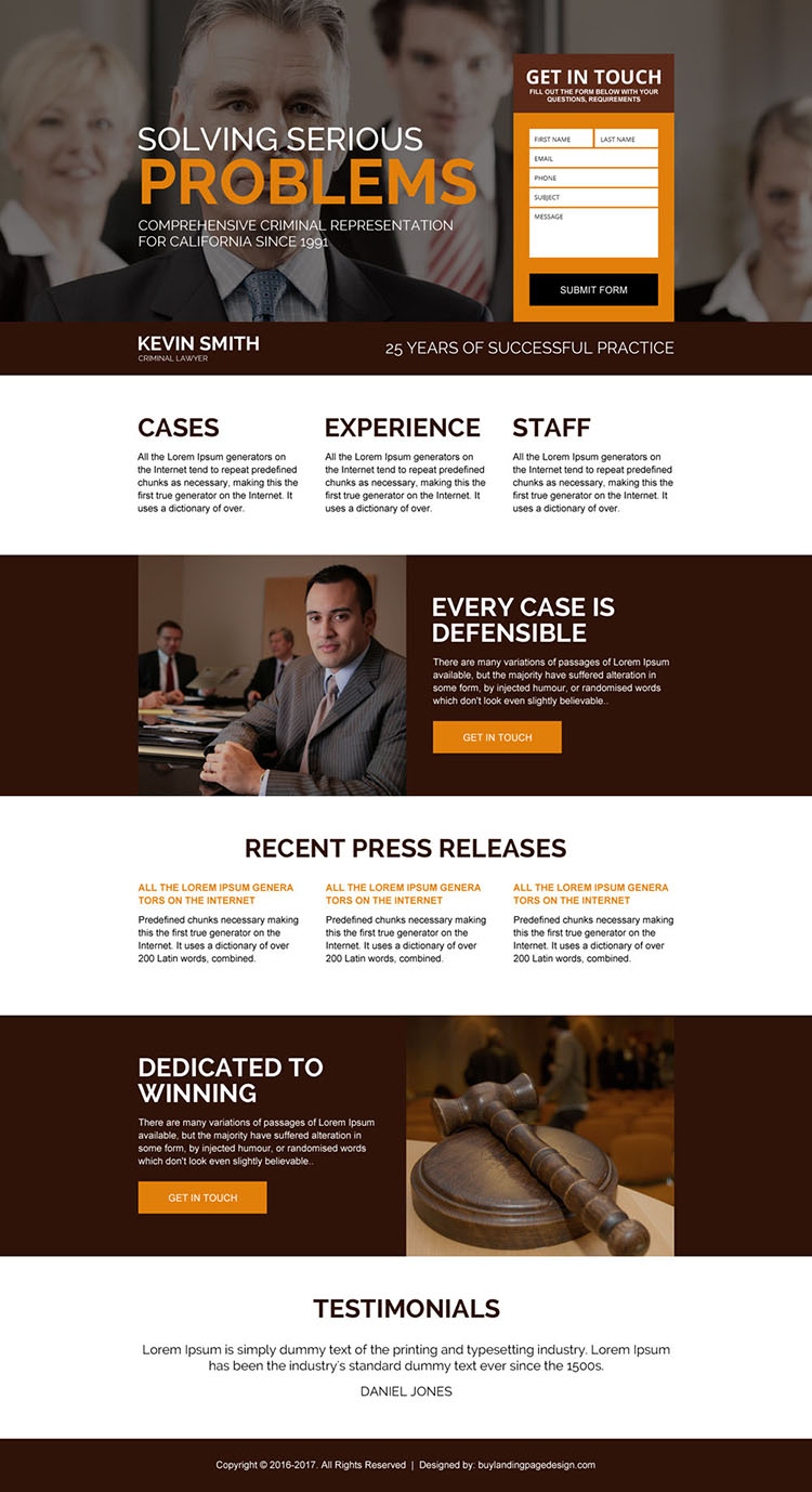 criminal lawyer converting landing page design