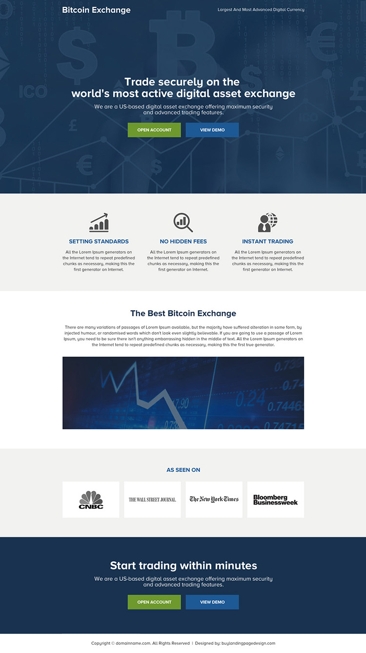 cryptocurrency bitcoin mini landing page design