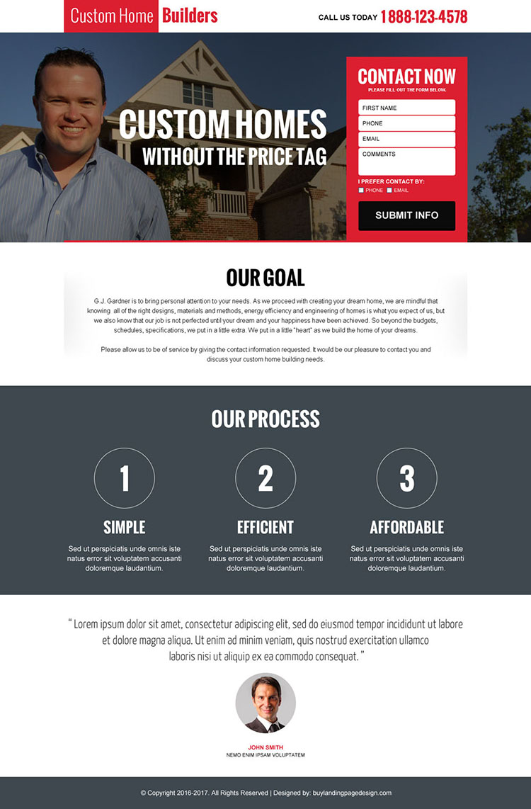 custom home builders responsive landing page design