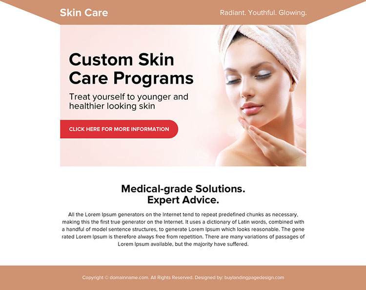 skin care medical solution ppv landing page design