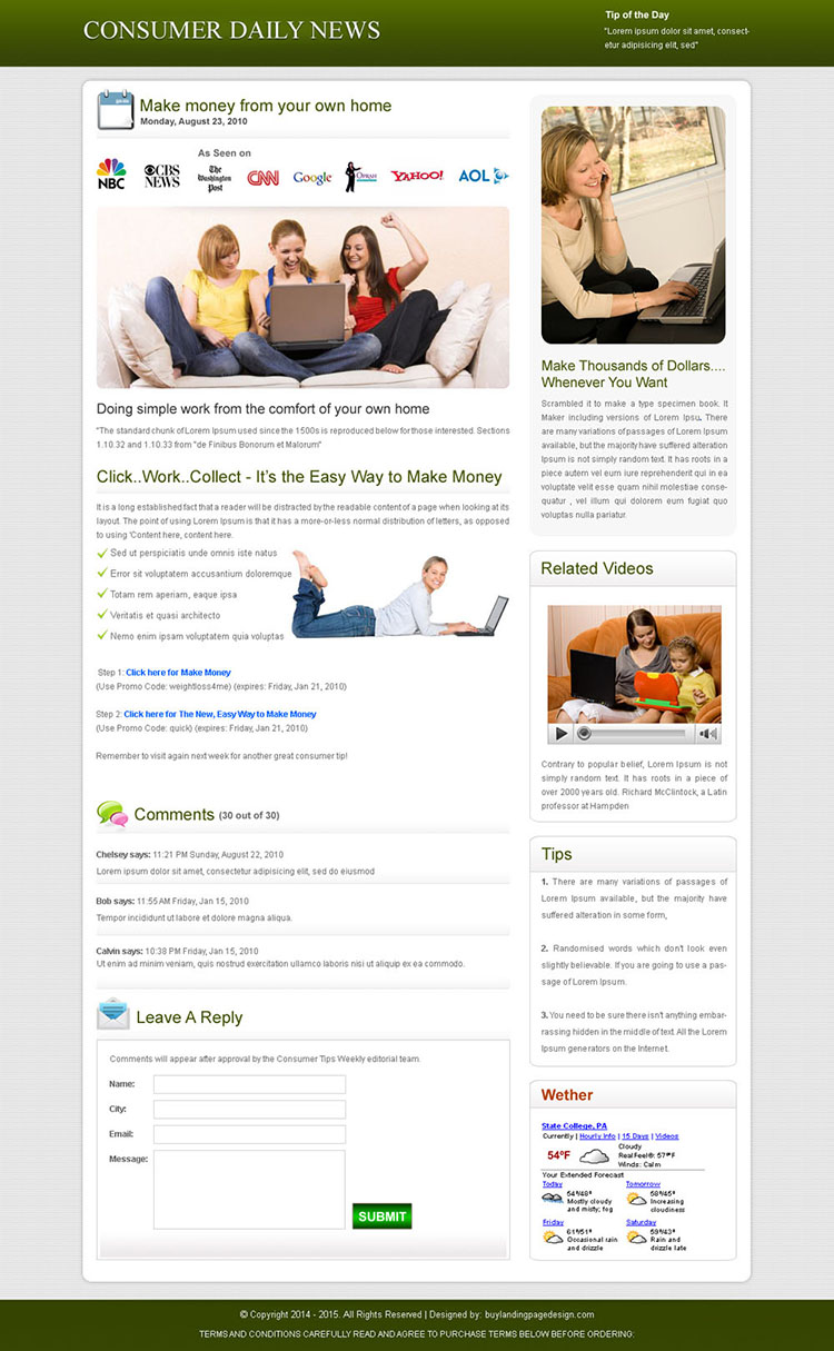 consumer daily news clean and effective landing page design template