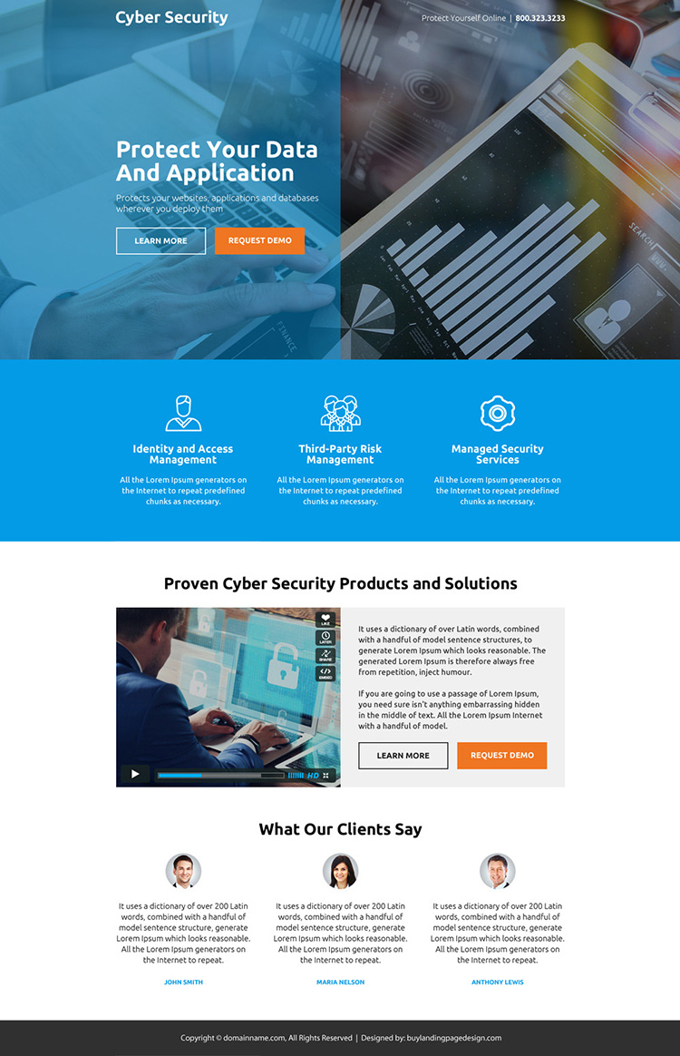cyber security product and services responsive landing page design