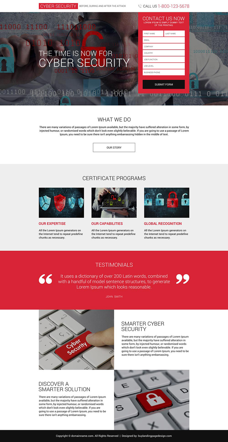 responsive cyber security services lead capturing landing page