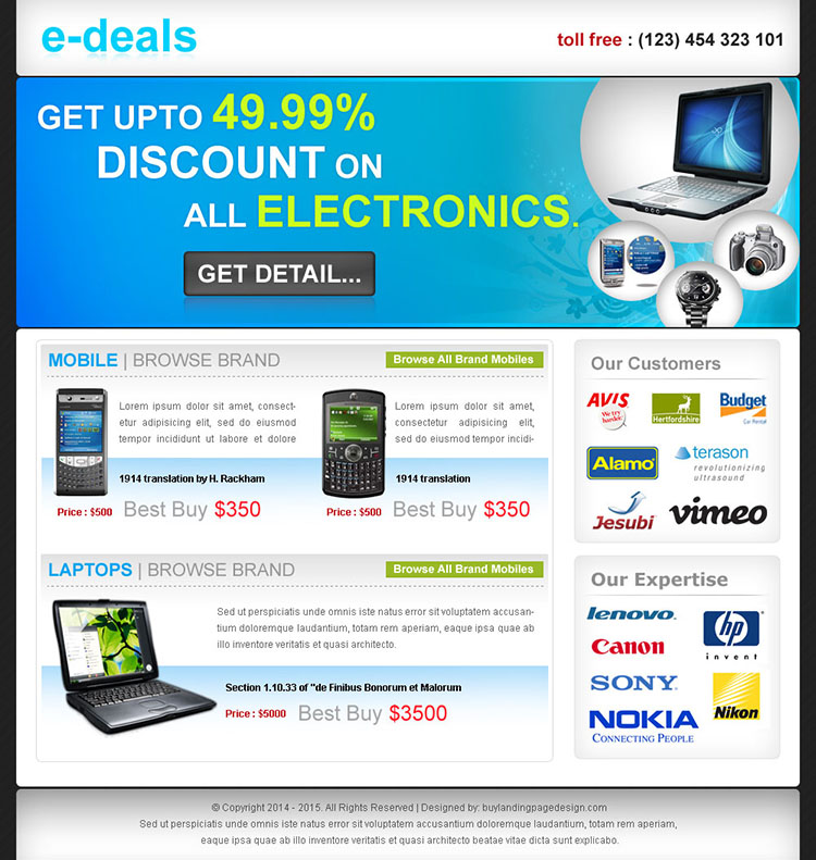 e-deals clean and effective landing page design for sale