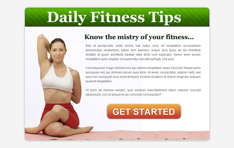 daily fitness tips call to action ppv landing page design