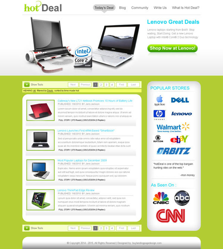 daily hot deal clean landing page design for sale