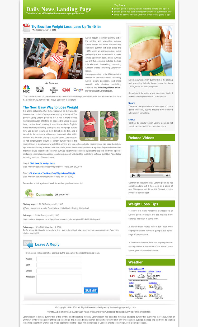 daily news clean landing page design