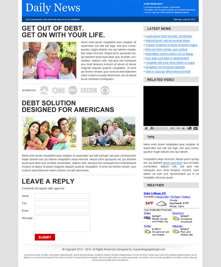 debt solution designed for american daily news lander design