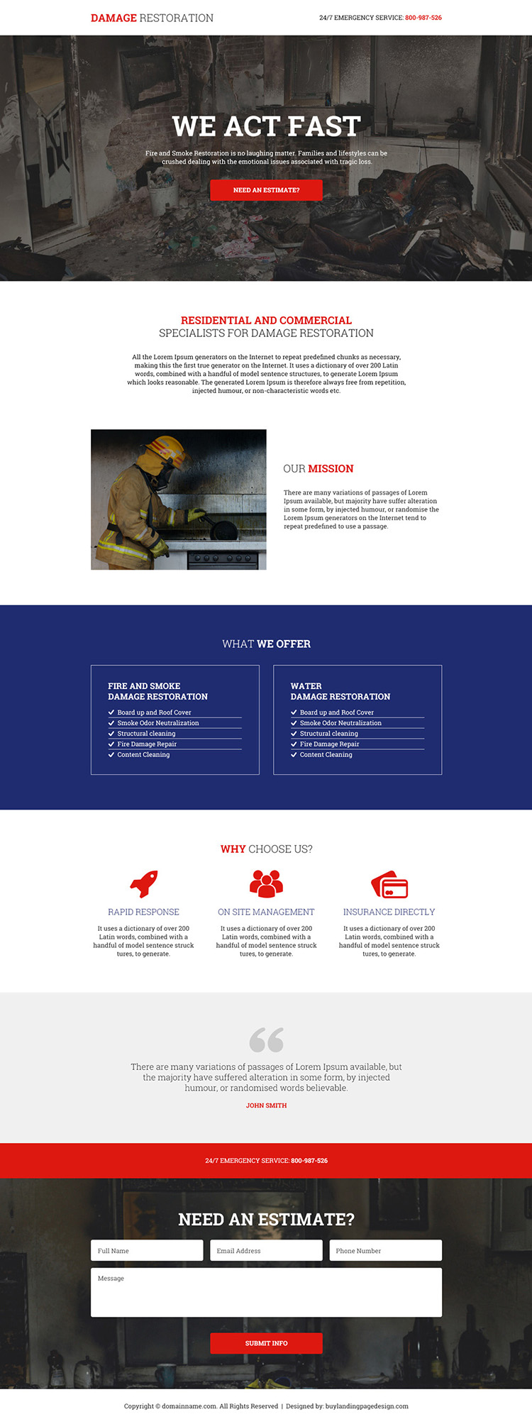fire and smoke damage restoration responsive landing page