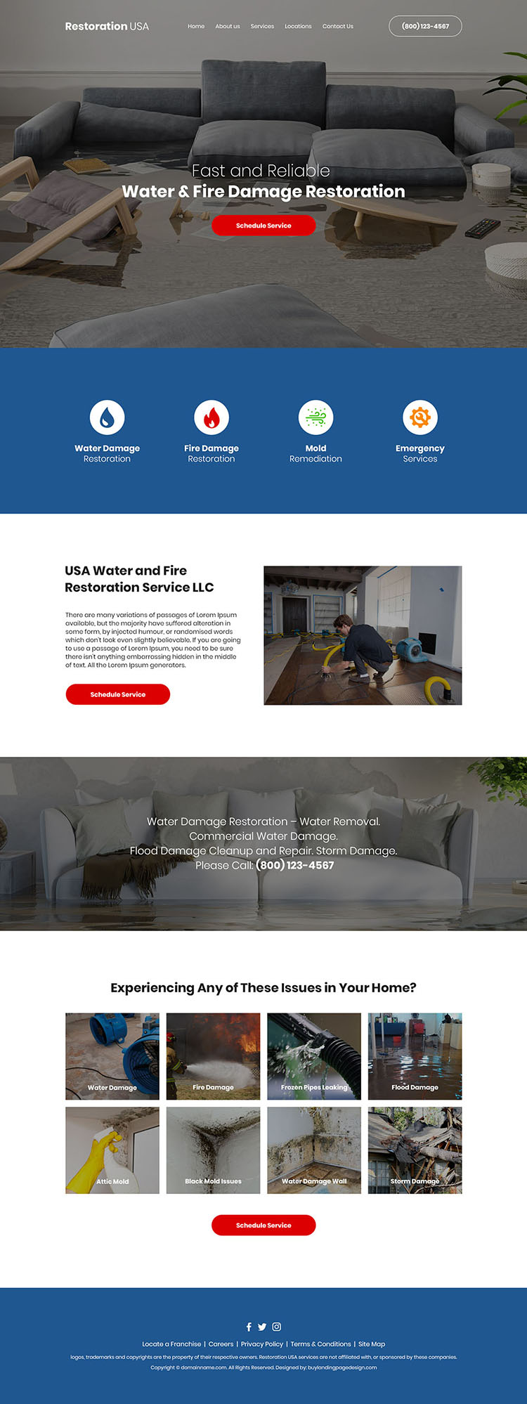 water and fire damage restoration company website design