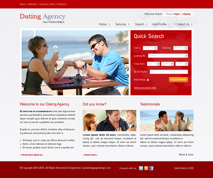 dating agency attractive and appealing website template design psd for sale