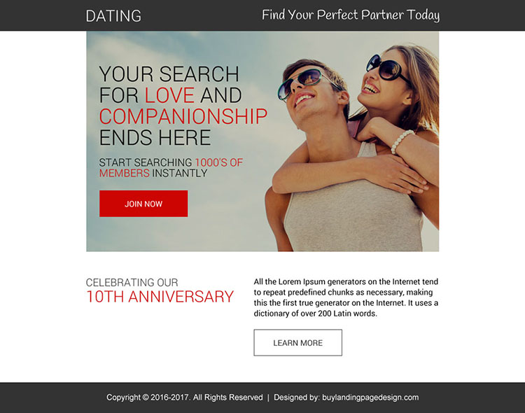 appealing dating call to action ppv landing page design