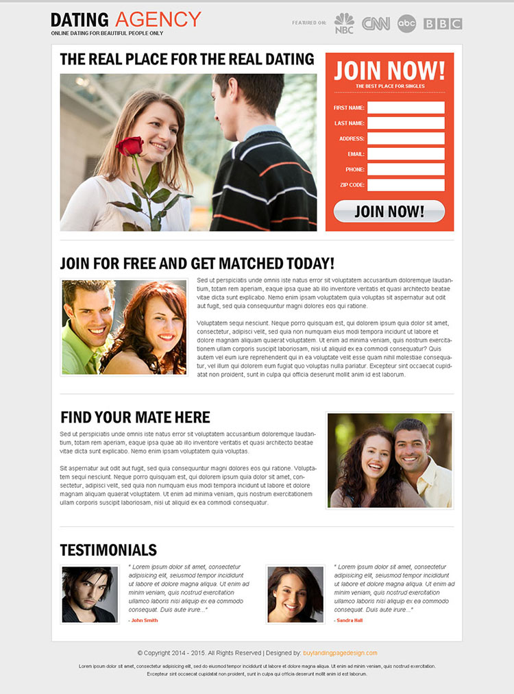 clean and minimal dating agency lead generating landing page design
